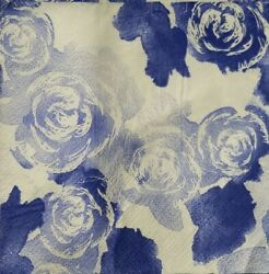 Napkins Roobee COBALT Blue ROSES Cocktail for Decoupage 2 napkins $2.00