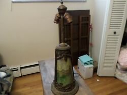 Antique Stained Slag Glass Lamp lighted base $179.99
