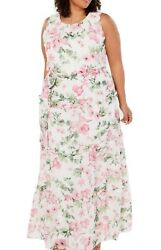 Jessica Howard Women#x27;s Dress White Size 22W Plus Maxi Floral Belted $119 #291 $27.99