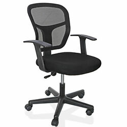 Office Chair Computer Desk Black Ergonomic Executive Mesh Chair Swivel Mid Back $42.63