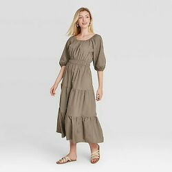 Women#x27;s Puff Elbow Sleeve Tiered Dress A New Day Brown M $14.29