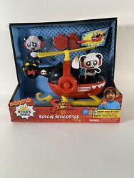 Jada Toys Ryan#x27;s World Helicopter with Combo Panda Figure 6quot; Feature Vehicle Red $5.99