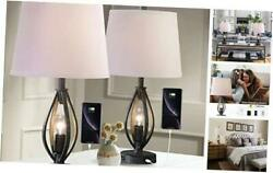 Modern Farmhouse Table Lamp Sets of 2 with 2 USB Ports Pulg in Industrial Grey $188.62