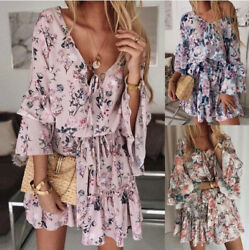 Women#x27;s Chiffon Mini Dress with Ruffles Summer Bohemian Dress with Floral Print $18.99