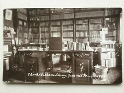 Charles Dickens library amp; desk at Gads Hill Place 1917 RP postcard Higham Kent GBP 14.99
