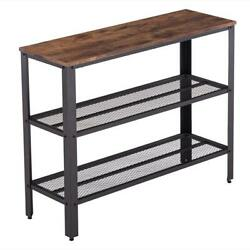 3 Tiers Console Table Living Room Entry Hallway Side Sofa Table Mesh Shelf $75.49