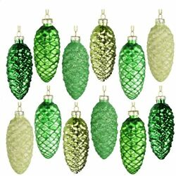 Set of 12 Hanging Pine Cone Painted Glass Ornaments for Christmas Tree Decor $14.99