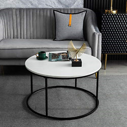 Round Coffee Table for Living Room Modern Cocktail Table with Wooden Top amp; and $130.91