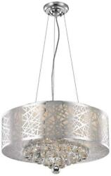 PRISM PENDANT CONTEMPORARY CLEAR CHROME METAL WIRE ROYAL CUT CRYSTAL BRASS $549.00