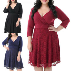 Women#x27;s Lace Floral Cocktail Dress Night Party Dresses Navy Blue Plus Size Dress $14.99