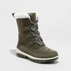 Women#x27;s Camila Waterproof Winter Boots All in Motion Olive 5 $18.99