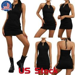Women#x27;s Sexy Halter Neck Backless Bodycon Mini Dress Party Club Black Dresses