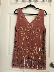 Free People Beaded Orange Dress S