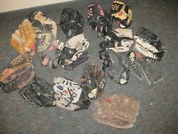 Lot of 17 Softball Baseball Gloves 9quot; to 13quot; Autos: Jeter Griffey Henderson $79.00