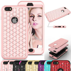 Glitter Bling Case Hybrid Armor Hard PC Rubber Cover Cute For iPhone 6 6s Plus