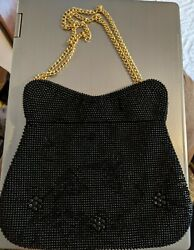 Stunning Womans Black Evening Purse Black Bead Like Front Back Satin Like Lining