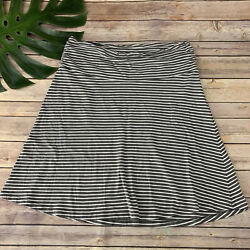 Toad amp; Co Womens Chaka Skirt Size M Gray White Striped A Line Pull On Organic $25.99