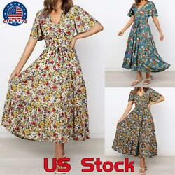 Women#x27;s Boho Floral V Neck Maxi Dress Summer Casual Party Long Beach Sundress $14.99