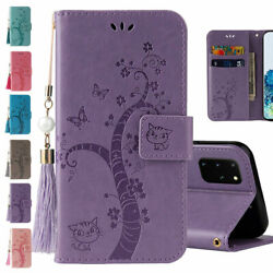 Emboss Cat W tassel Magnetic Wallet Case Cover For Samsung Note20 S20FE A71 Cute $9.19