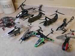 RC Helicopter Lot of 8 FOR PARTS AS IS UNTESTED Plus 1 Ground RC $29.99
