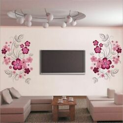 Removable Vinyl Wall Stickers Flowers Living Room TV Sofa Background Home Decor $13.71