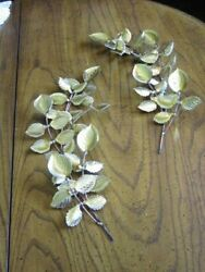 Vintage HOMCO HOME INTERIORS Gold Tone Leaves Metal Wall Decorations Set of 2 $19.99
