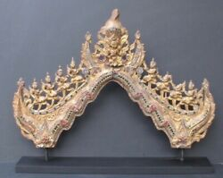 Sculpture Wooden Antique Parts Of Temple Burma $1015.90