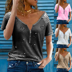 Womens Summer Zipper V Neck Short Sleeve T Shirt Casual Striped Blouse Loose Top $15.18