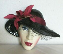 Mask Wall Hanging Lady Wearing Hat with Netting Veil Resembles Clay Art $18.99