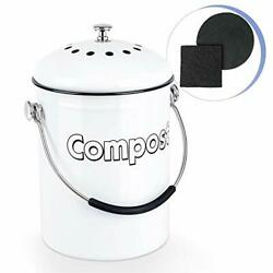 Rorence Stainless Steel Compost Bin: White Indoor Compost Bucket for Kitchen $42.29