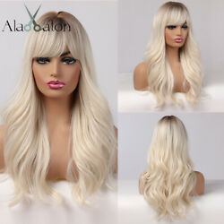 Long Women Wigs with Bangs Ombre Brown Platinum Blonde Hair Wig Daily Party Cos $17.99