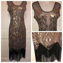 Retro Stage Flapper Gatsby Party Roaring 20s Fringe Gold Black Sequin Dress Med