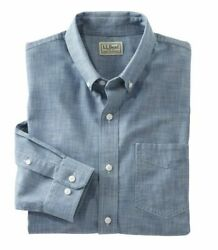 NWT LL BEAN Men#x27;s Easy Care Blue Chambray L S Shirt SZ.L Traditional Fit 500505 $19.99
