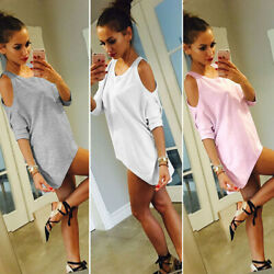 Summer Women Solid Oversized Crew Neck Loose Tunic Off the shoulder T shirt Tops $13.76