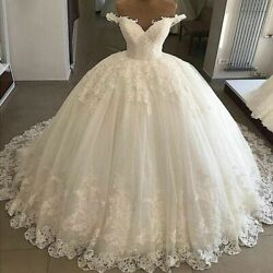 Vintage Wedding Ball Dresses Sweetheart Appliques Tulle Off Shoulder Court Train