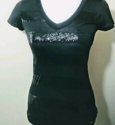 LOVESTRUCK Women#x27;s Black Sequin Blouse Sz M V Neck Front Accent Pocket MINT