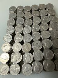TWELVE ROLLS 12 OF 1957 D JEFFERSON NICKELS Circulated $54.00