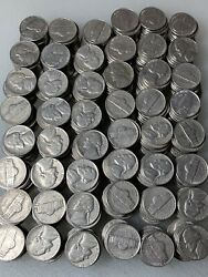 TWELVE ROLLS 12 OF 1958 D JEFFERSON NICKELS Circulated $54.00