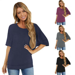 Summer Women Casual Crew Neck T Shirt Short Sleeve Blouse Solid Tops Loose Tunic $12.79