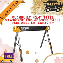 OUGHBUILT 42.4quot; Steel Sawhorse and Jobsite Table Pair 2200 lb. Capacity 1pc $48.97