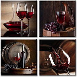 Red Grape Wine Wall Art Kitchen Decor Still Life Fruit Goblet Canvas Prints Barr $44.99