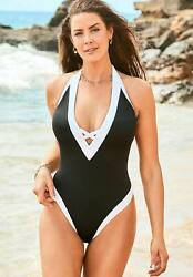 Swimsuits For All Women#x27;s Plus Size Ashley Graham Plunge Colorblock One Piece $47.56