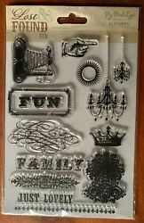My Mind#x27;s Eye FUN Clear Cling Stamp Set o#x27;14 Chandeliers Vintage Camera Damask $7.99