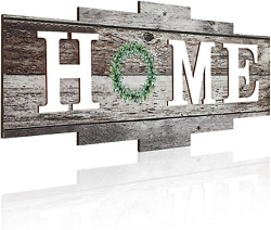 Jetec Rustic Home Wall Decor Wooden Home Sign Hanging Decor Framed Wooden Home P $17.99