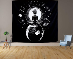 Moon Tapestry Black White Tapestry Wall Hanging for Bedroom Moon Aesthetic Mysti $15.99
