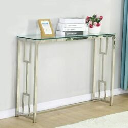 Glass Vanity Table Silver Glass Console Sofa Tables Hallway Bedroom Entryway $124.79