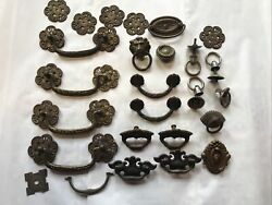 Vintage Brass Antique Draw Pulls For Repurpose Large Lot $22.00