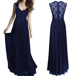 Women#x27;s Bridesmaid Evening Gown Formal Party Prom Dress Lace Long Maxi Dresses $7.59