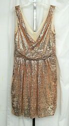 NWT Kate Kasin Women#x27;s Sleeveless Sequins V Neck Ball Evening Short Dress Sz. 16