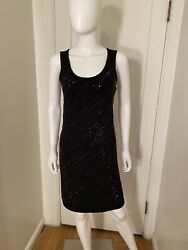 Calvin Klein Black Cocktail Dress With Black Rhinestones Size XS $69 $25 Ship